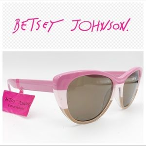 Betsey Johnson Pink Stripe Sunglasses